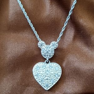 Disney RhinestoneMickey Heart necklace pendant
